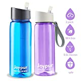 joypur Filter Water Bottle – Emergency Water Bottle with Purifier 4-Stage Integrated Filtration Water Bottle Straw for Camping Hiking Backpacking Travel 22 Oz Leakproof 2 Pack