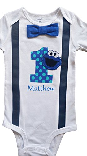Baby Boys 1st Birthday Outfit Cookie Monster Bodysuit - -