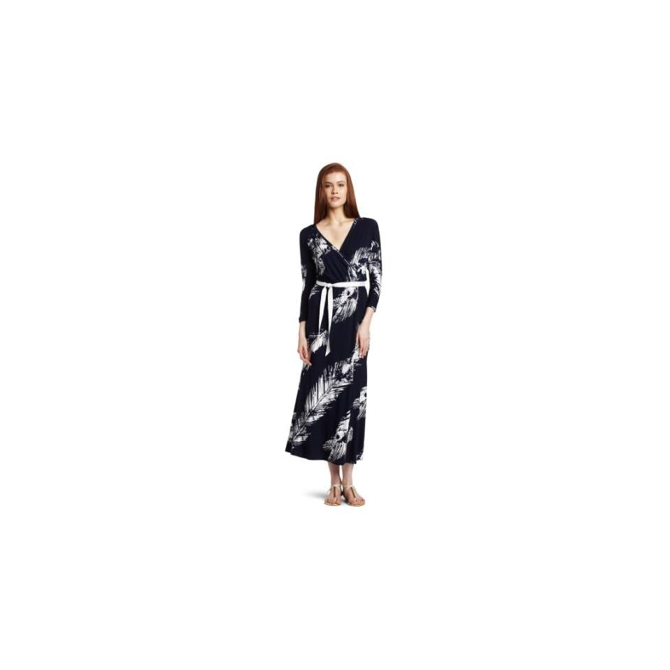 Karen Kane Womens Palm Print Long Dress