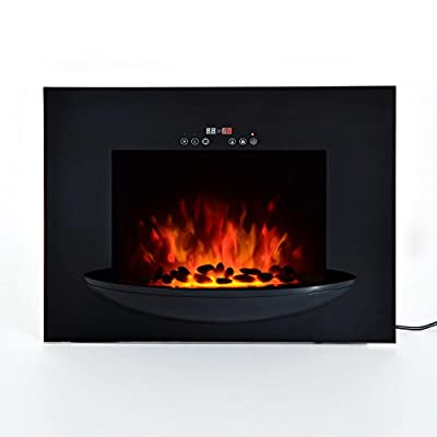 """HomCom 26"""" 1500W Touch Screen Multi-Color Wall Mounted Electric Fireplace w/Remote - Black"""
