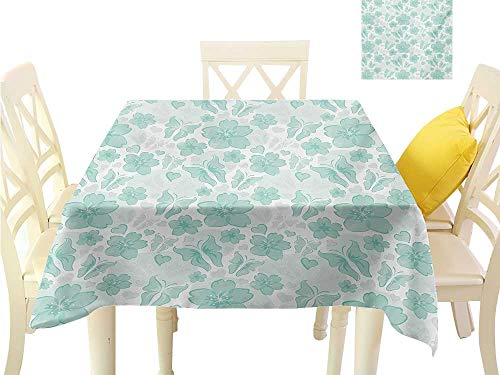 familytaste Fabric Covering Turquoise,Flowers Butterflies Leaves Pattern Springtime Romantic Design Nature,Turquoise Seafoam Pearl Table Cloth for Square Tables W 36