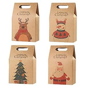 Hemoton 16 piezas bolsa de regalo de navidad bolsas de papel kraft bolsas de bocadillos y dulces bolsa de regalo de navidad bolsas de pastel de ...