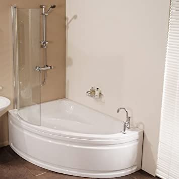 Charmant Bath Shower Tub 1500 Corner White Acrylic Modern Luxury Left Hand Bathroom  Offset Small Compact Spacesaver