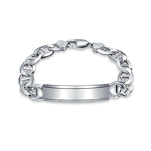 Mens Mariner Anchor Link ID Bracelet Engravable 250 Gauge Heavy High Polish 925 Sterling Silver Made In Italy ()