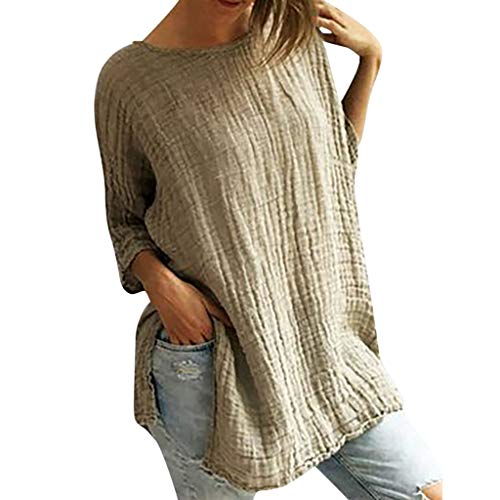 (Split Solid Vintage Tops, QIQIU 2019 Women Summer Cotton Linen Half Sleeve O-Neck Casual Loose T-Shirt Blouse Beige)