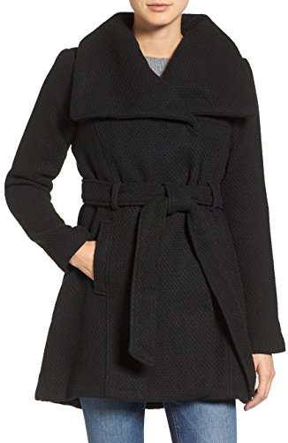 Steve Madden Women's Wool Blend Belted Winter Fashion Dress Wrap Coat - Black (Size 3X)