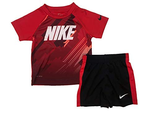 Nike Boy`s Dri-Fit T-Shirt & Shorts 2 Piece Set (Black(76F048-R1N)/Red, 4T)