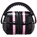 AmazonBasics Safety Ear Muffs Ear Protection, Black and Pink, and Safety Glasses, Clear Lens