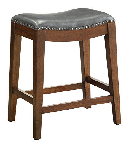 Office Star Metro Bonded Leather Counter-Height Saddle Stool with Nail Head Accents and Espresso Finished Legs, 24-Inch, Pewter (Gray Leather Counter Stools)