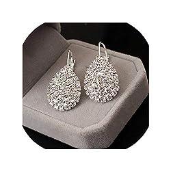 Crystal Gold Silver Drop Dangle Earrings
