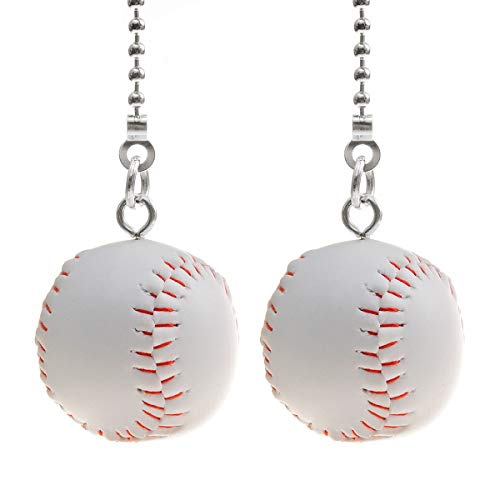 Saim Fan Pull Chain Decorative Extension 12 Inch Light Pull Chain Set Silver Tone Chains Baseball Pendant for ceiling fans Lights Lamp, Pack of 2