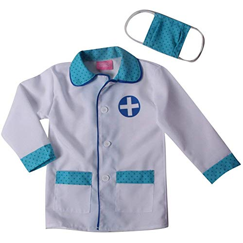 Storybook Wishes Boys Blue Doctor Jacket & Mask Pretend Play Set Costume (4/6, white/blue) -