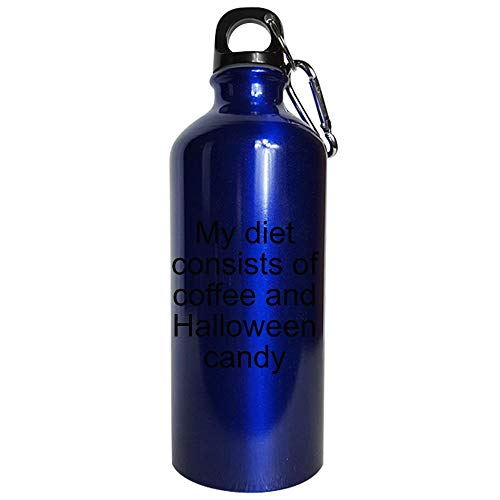 My diet consists of coffee and Halloween candy - Water Bottle Metallic Blue