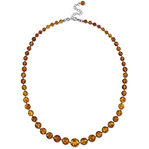 Peora Genuine Baltic Amber Graduated Strand Necklace for Women, Cognac Color 5 to 12mm Beads, 19 inches length with 2.5…