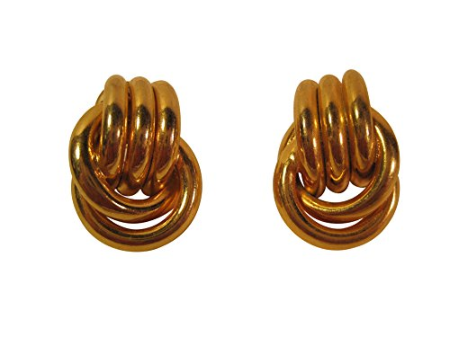 Trifari Pierced Earrings - Gold-Tone Loop-Design, Pierced-Ear Earrings, 1 1/8 Inch