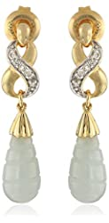 18k Yellow Gold over Sterling Silver Green Jade and Diamond Accent Drop Earrings
