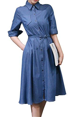 Chartou Woman's Fashion Button-up Half Sleeve Denim Swing Belted Shirt-Dress (Large, Blue)]()