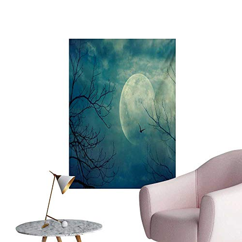 Anzhutwelve Horror House Photographic Wallpaper Halloween with Full Moon in Sky and Dead Tree Branches Evil Haunted Forest PrintBlue W24 xL32 The Office Poster -
