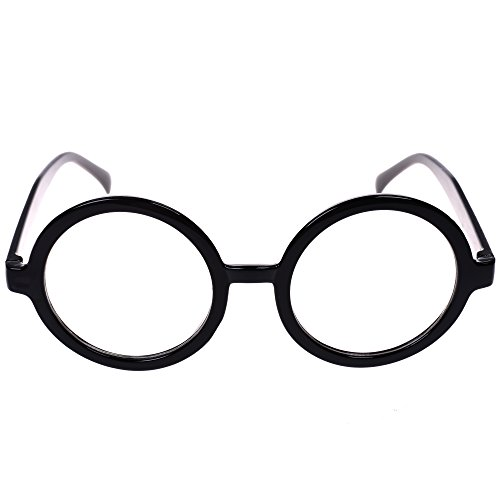 BCP Plastic Black Round Frame Eyeglasses Costume Party Favors
