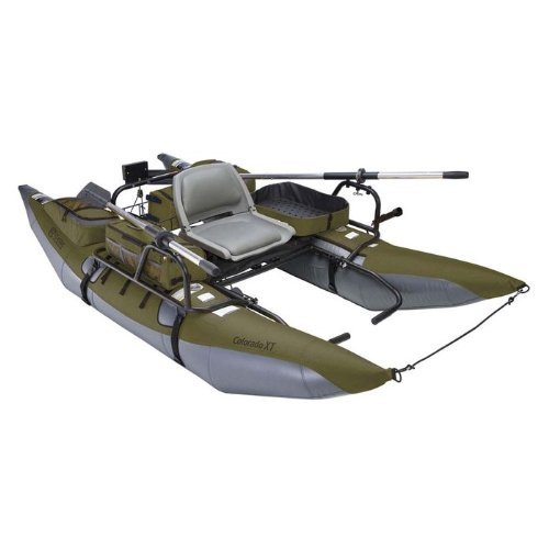 Classic Accessories Colorado XT Inflatable Pontoon Boat With Transport Wheel & Motor Mount, Sage/Gray Boats And Motors Classic Accessories
