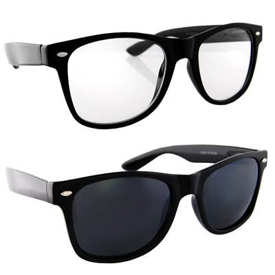 2 Retro Style Black Frame Clear and Dark Lenses Sunglasses
