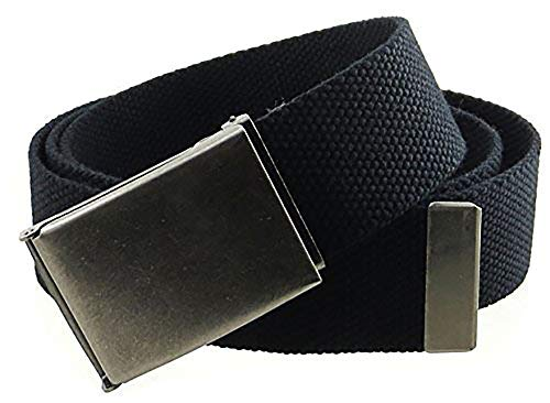 (Canvas Web Belt Flip-Top Antique Silver Buckle/Tip Solid Color 50