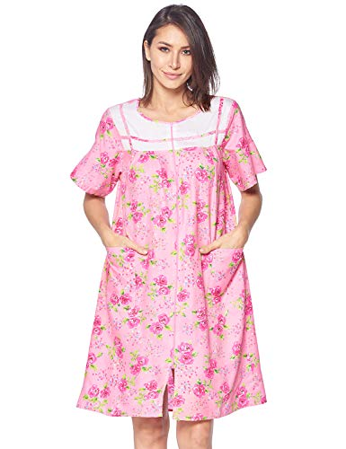 Casual Nights Women's Zipper Front House Dress Short Sleeves Duster Lounger Housecoat Robe, Floral Pink, Large