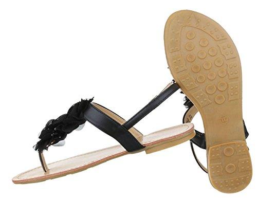 Damen Sandalen Schuhe Sommerschuhe Strandschuhe Zehentrenner Schwarz Gelb 36 37 38 39 40 41
