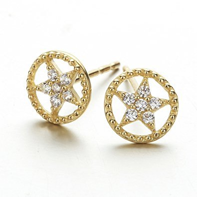 Carleen Solid 14K Yellow Gold Cubic Zirconia Pentagram Shaped Stud Earrings for Women ()