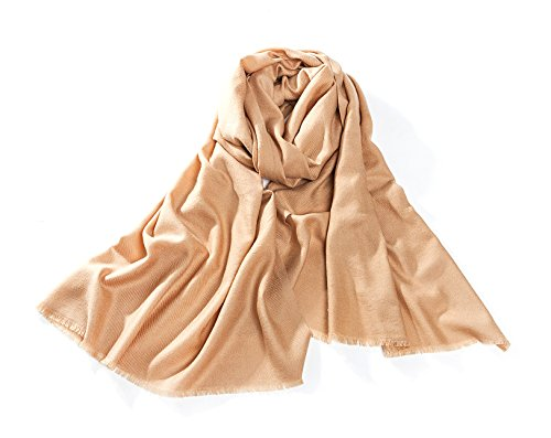 RIONA Women's Soild Basolan Wool Scarf - Super Soft Fashion Lightweight Neckwear for Spring & Fall(Camel) by RIONA (Image #1)