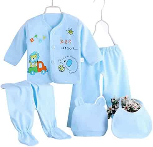 TRIEtree Newborn Baby Boys Girls Cotton Dress 5 Piece Gift Set (Lion Button  Blue) 61477715c