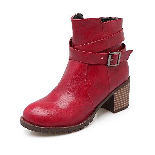 AgooLar Damen Rein Mittler Absatz Rund Zehe Reißverschluss Stiefel mit Schnalle, Rot, 37