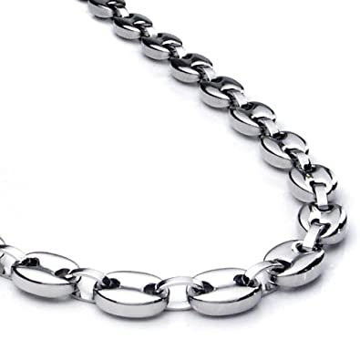 rhodium chains plated necklace double link oval