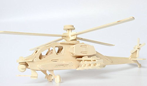 Kaden G-P 3D Jigsaw Woodcraft DIY Assembly Construction Model Plane aircraft airplane Puzzle Kit Wooden Handcraft Educational Products Wooden Art jigsaw puzzle toys for children diy handmade wooden (Four Leaf helicopter)