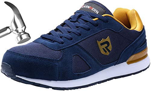 (LARNMERN Work Steel Toe Shoes Safety Sneakers for Men Lightweight Industrial & Construction Shoe (12, Royal)
