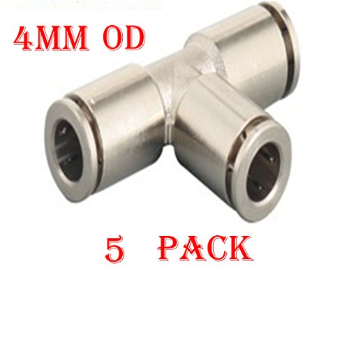 Utah Pneumatic Pack Of 5 Nickel-Plated Brass Push To Connect Fittings 4 Mm Or 5/32
