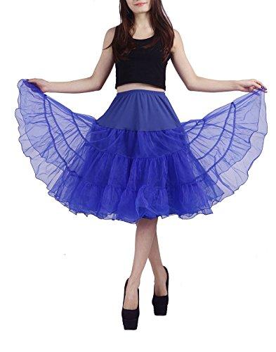 [HDE Women's Vintage Petticoat Slip Tutu Skirt Rockabilly Swing Dress Underskirt (S-M , Royal Blue)] (Holiday Pin Up Costumes)