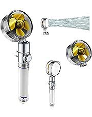 MIKUAM 360 graders roterande turbo-dusch, högtrycks-turbo-duschmunstycke, turbo-duschmunstycke, duschhuvud med högt tryck med filter och pausknapp
