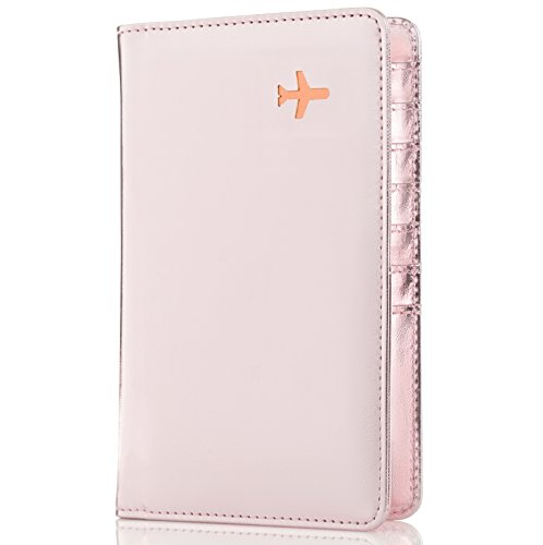 All in One Travel Wallet - 2 Passport Holder + Gift Box / cash tickets cards pen (Rose Gold)