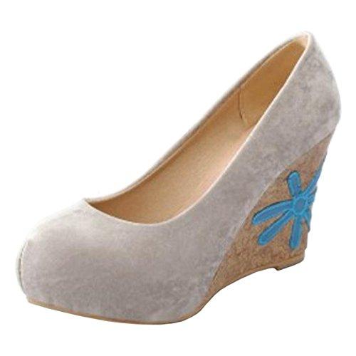 Coolcept Mujer Tacon De Cuna Bombas Zapatos Light Gray
