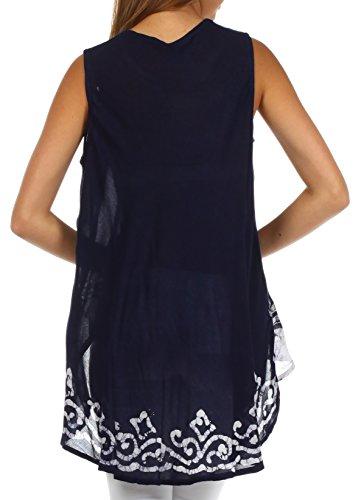 Sakkas 97741 -Cuervo Salvaje Batik Túnica/Blusa Corta por Delante y Larga por detrás - Azul Marino/Blanco - One Size: Amazon.es: Ropa y accesorios