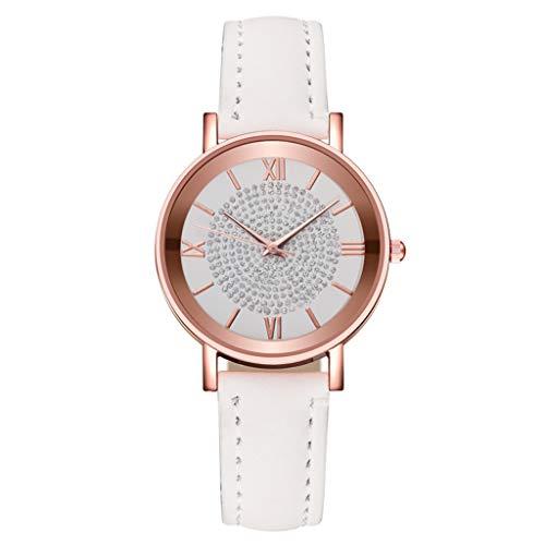 Justwide Modische Mehrfarbige Einfache Design Damenuhr Lederarmband Rundes Zifferblatt Damenuhrarmband Größe Einstellbar (Weiß)