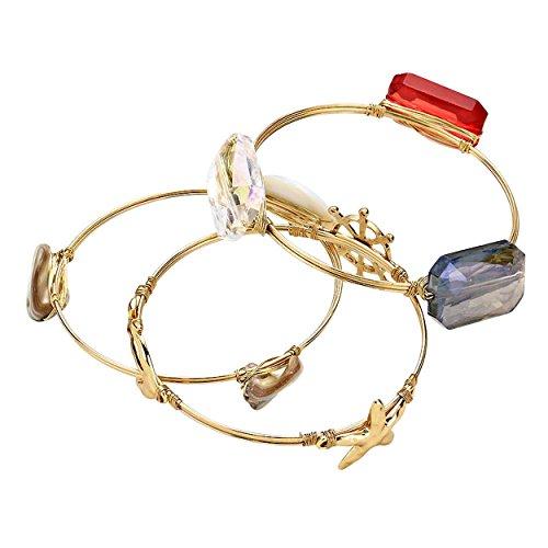 Rosemarie Collections Femme Charms Thème nautique Pierre naturelle multicouche Bracelet