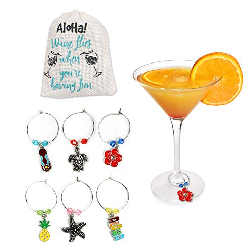 Hawaiian Beach Tropical Wine Glass Charms, Beach Theme Favors -Drink Markers For Parties, Set of 6, Wine Charms, Drink Markers with White Linen Storage Bag by Cork & Leaf