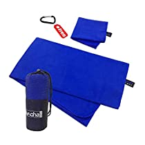 alamoha Microfiber Sports Travel Towel Sets- Antibacterial Lightweight Compact Absorbent Quick Dry Swimming Beach Towel (160x81cm) with Hand Foot drying towel (30x50cm)-Ideal for Outdoors Travelling Camping Hiking SwimBackpacking Gym Yoga &FREE Storage mesh bag