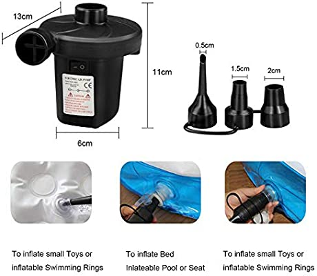 Tencoz Bomba de Aire eléctrica, Inflador Electrico Colchones Inflables/deflactor para Piscinas, Barcos, Juguetes Hinchable o Camping, con 3 ...