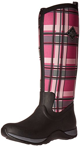 Muck Boot Women's Arctic Adventure Tall Snow Boot, Black/Pink Plaid, 8 M US by Muck Boot