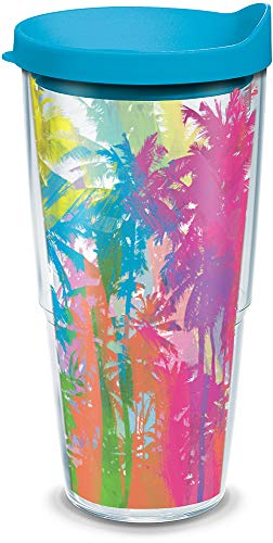 - Tervis 1166246 Neon Palm Trees Tumbler with Wrap and Turquoise Lid 24oz, Clear