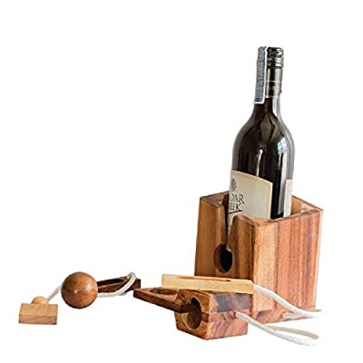 Gifts Wine Bottle Puzzles Drinking Games for Adults Party Brain Teaser Hard Puzzle Board Games for Adults Box Lover Funny Fit Wine Game Gadgets 3D (Wine Bottle Puzzle): Toys & Games