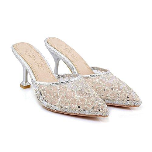 de de femeninas el encaje expuestas sandalias verano Silver Baotou punta fina Con tamaño de Zvdnw8wEp